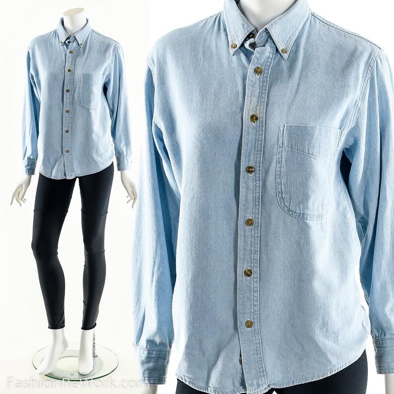 90s Denim ShirtVintage Chambray ShirtJean Button UpLight image 0