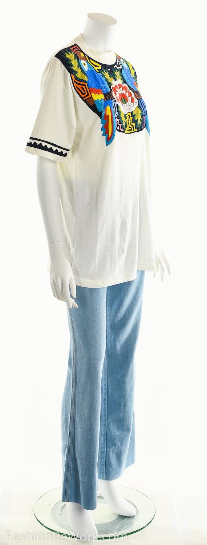 Patchwork T-Shirt, Vintage Patchwork Tee, Tropica… - image 4