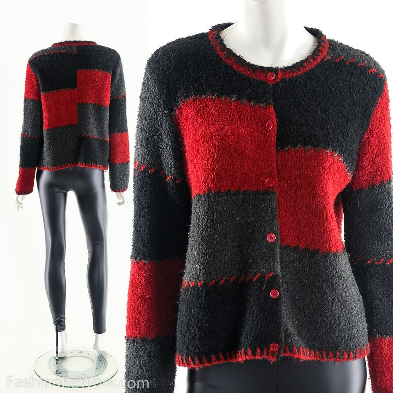 Patchwork Colorblock SweaterRed Gray SweaterVintage Sweater image 0