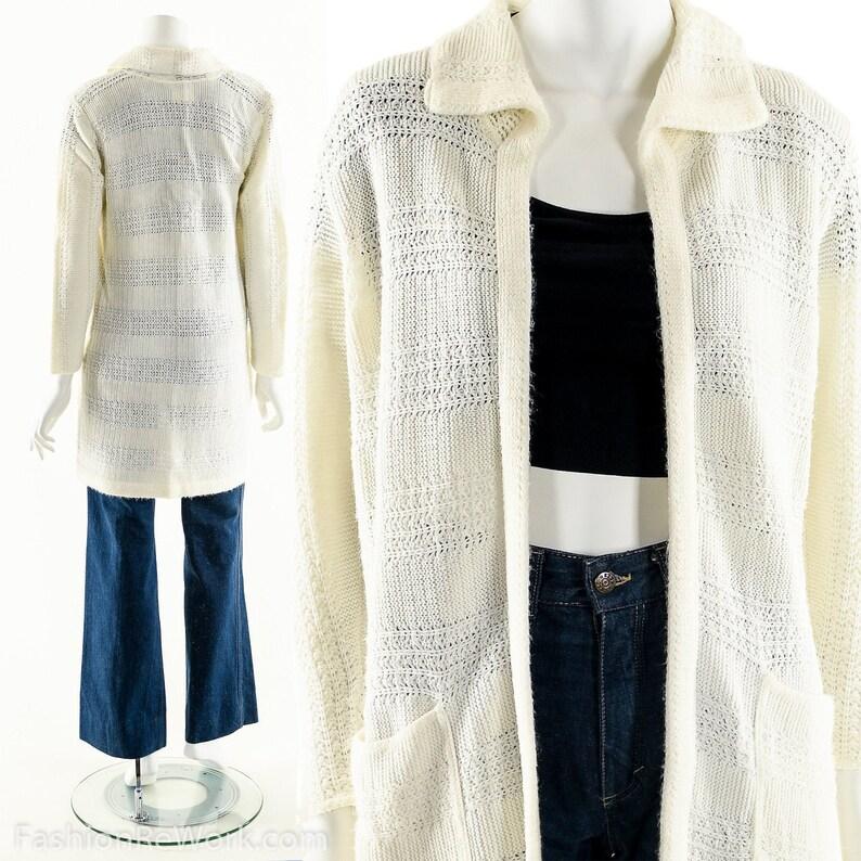 White Knit Sweater White Duster Cardigan 70s Cardigan image 0