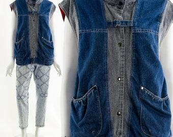 Denim Hunting Vest,Utilitarian Patchwork Vest,Oversized 80s Denim Jacket,Mixed Denim Vest,Futristic Denim Vest,Avant Garde Vest,Heavy Denim