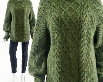 Irish Fisherman Sweater,Rare Green Irish Wool Sweater,Vintage Irish Sweater,Cable Knit Sweater,Hand Knit Sweater,Vintage Boyfriend Jumper