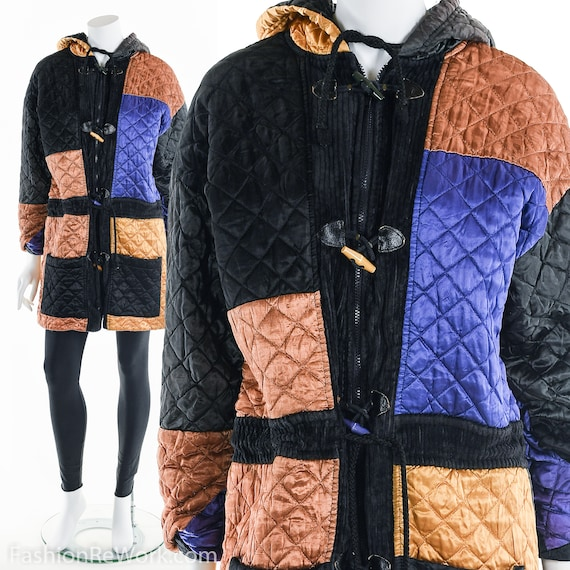 Quilted Jacket, Quilted Hoodie Jacket, Colorblock… - image 2