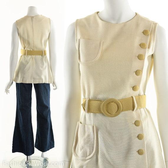 White Mod Mini Dress, Mod Tunic Dress, 60's White