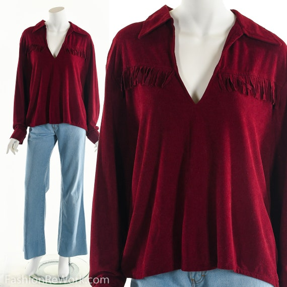Red Fringe Top, Faux Leather Fringe Blouse, Boho R