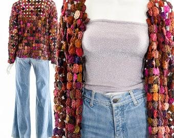 Rainbow Quilt Jacket,Rainbow Yoyo Blanket Coat,20s 30s Pinwheel Cardigan Jacket,Vintage Yo-Yo Handmade Jacket,Boho Hippie Jacket,Bohemian