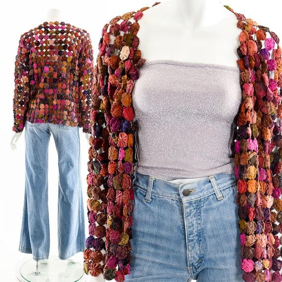 Rainbow Quilt Jacket,Rainbow Yoyo Blanket Coat,20s