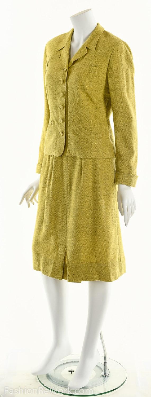 40's suit,vintage 1940's suit, yellow suit, skirt… - image 8