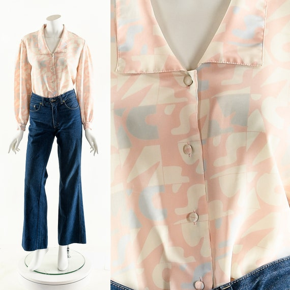 Abstract Novelty Blouse,Peter Pan Blouse,Baby Pink