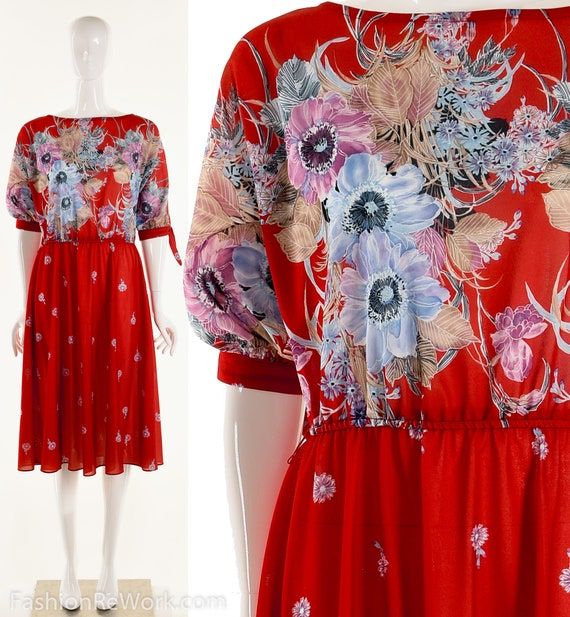 Red Floral Dress Floral Red Dress Knee Length Wate