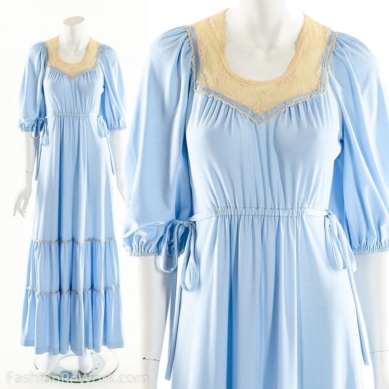 Blue Prairie DressVictorian Style DressPeasant Boho image 0
