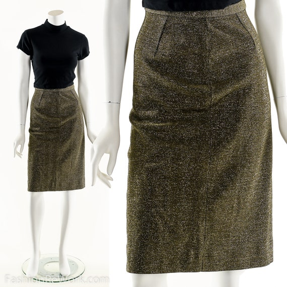 Metallic Bronze Skirt, Lurex Pencil Skirt, Sparkly