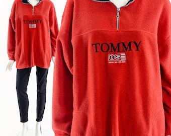 Vintage 90s Red Fleece Tommy Hilfiger Quarter Zip,90s Tommy Hilfiger Fleece,Original 90's Tommy Jacket,Vintage Tommy Fleece Jacket,Authentic