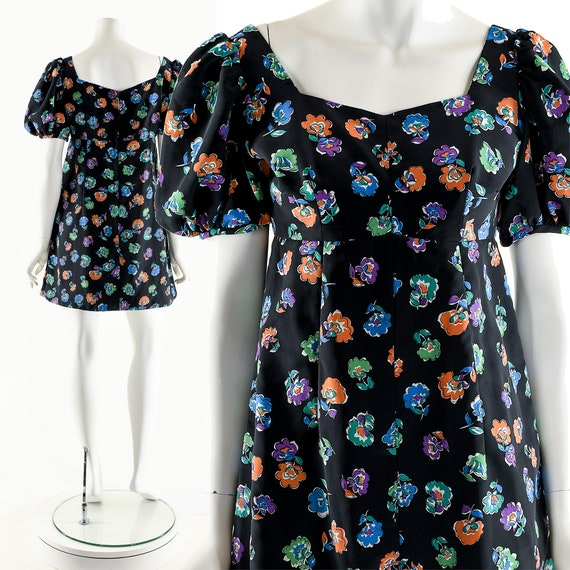 Rainbow Floral Dress,Baby Doll Dress,Twiggy Mini D