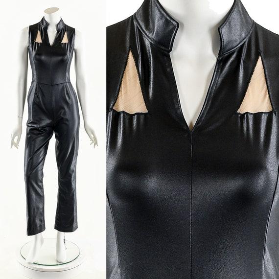 Vintage Black Jumpsuit,Faux Leather Catsuit,Vintag