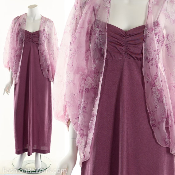 Purple Dress, 70's Purple Dress, Dress Set, Purple
