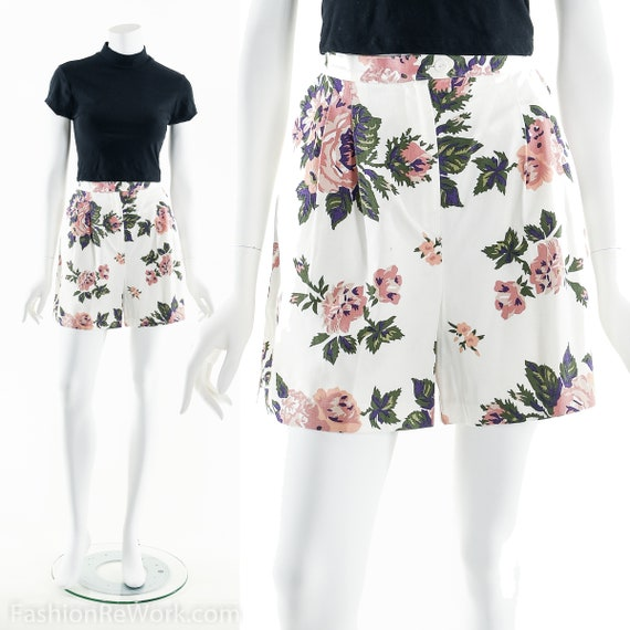 90's Floral Shorts, High Waist Shorts, Floral Prin