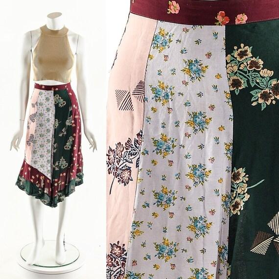 Patchwork Floral Skirt,Vintage Tie Skirt,Patchwork