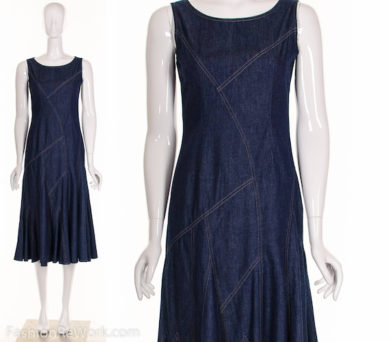 ASYMMETRIC DENIM Dress Vintage 90's Denim Midi Dre