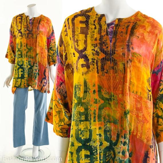 Vintage Boho Tunic Boho Top Tie Die Tunic Festival Orange Tunic