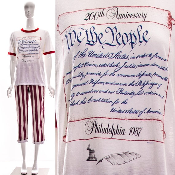 Ringer Shirt The Thin Blue Anniversary Paper Tee We White People Red rare Vtg Constitution Soft Americana USA Patriotic 200th T American w8qS74T