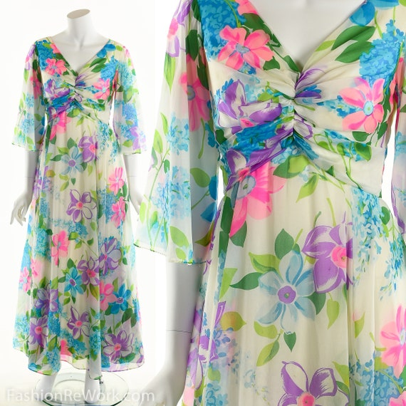 Chiffon Maxi Dress, Dreamy Floral Chiffon Dress, N