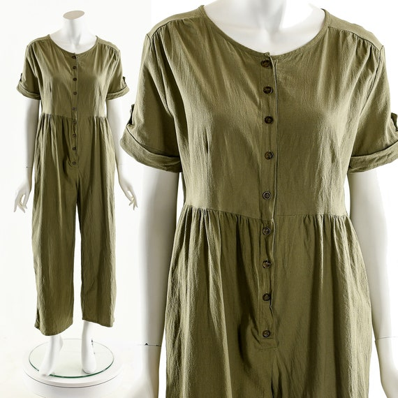 MINIMALIST Cotton Jumpsuit,Khaki Olive Romper,Rela
