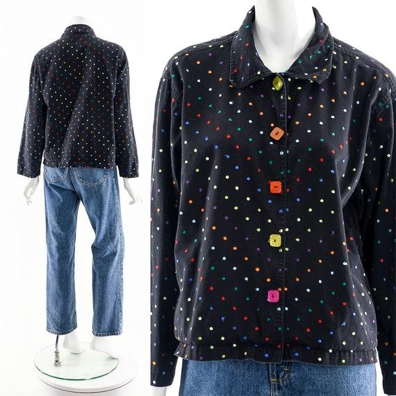 Black Rainbow Jacket,Embroidered Multicolored Jac… - image 3