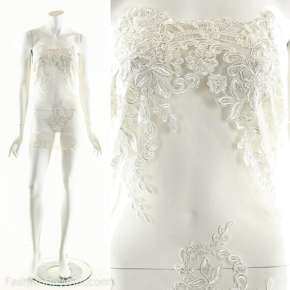 White Lace Dress,Sheer Lace Dress,Lace Appplique D