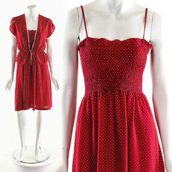 Smocked Red Dress,Red Polka Dot Dress,Boho Red Dre