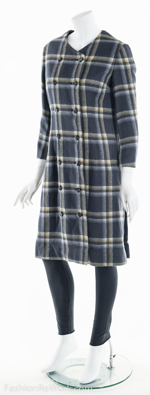 Plaid Wool Coat, Double Breasted Coat, 60's Coat,… - image 8