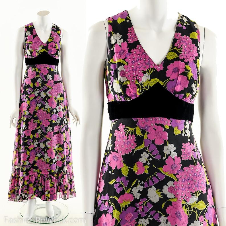 Chiffon Silk DressFloral Pop MaxidressPsychedelic Flower image 0