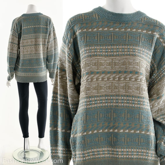 Coogi Style Sweater, Funky Blue Beige Sweater, Ove