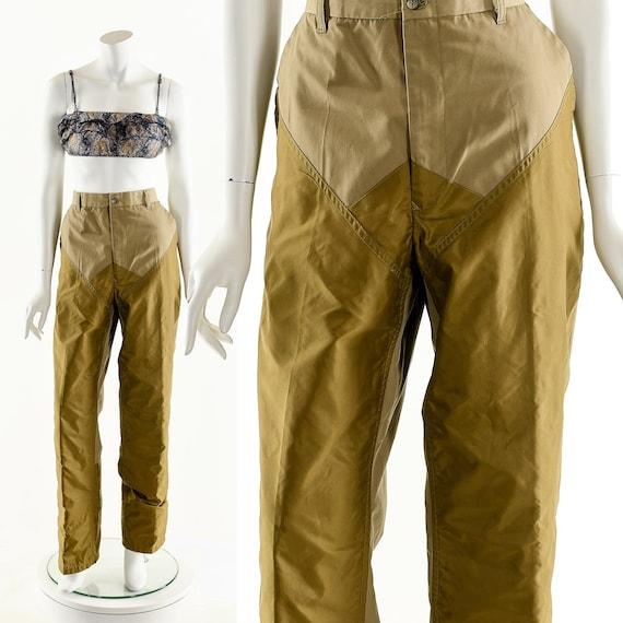 Minimalist Colorblock Pants,Panel Beige Tan Pants,