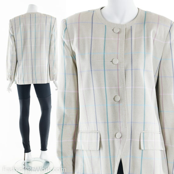 Sasson Blazer Jacket, 90's Pastel Plaid Blazer, Vi