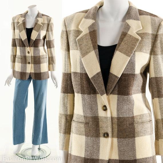 Windowpane Plaid Blazer, Plaid Wool Blazer, Blazer