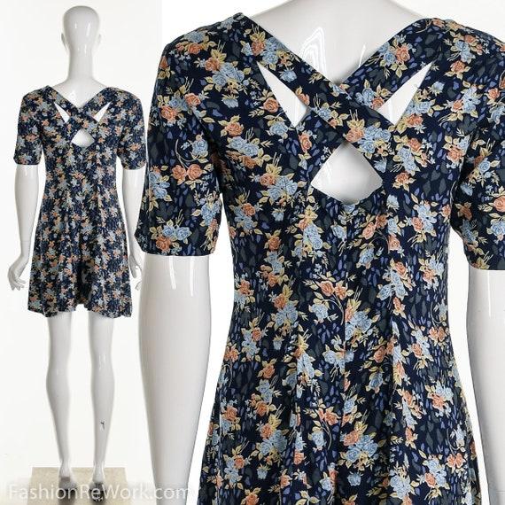 Floral Romper, Rose Romper, Rose Jumpsuit, Blue Ju