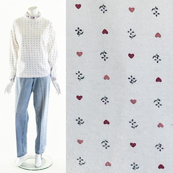 Heart bunny turtleneck,vintage Valentine shirt,bun