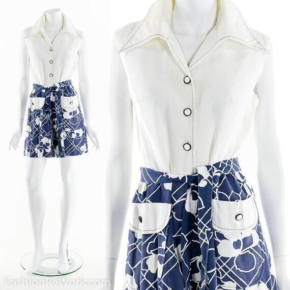 Tropical Romper, Vintage Jumpsuit, 60's Floral Rom