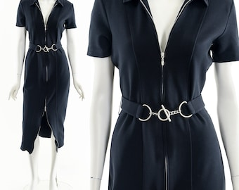 Black Full Zip Dress,90s Black Bodycon Dress,Polo Zipper Dress,Sexy Reformation Style Dress,Two Way Zipper Dress,Black Midi Dress,Stretchy