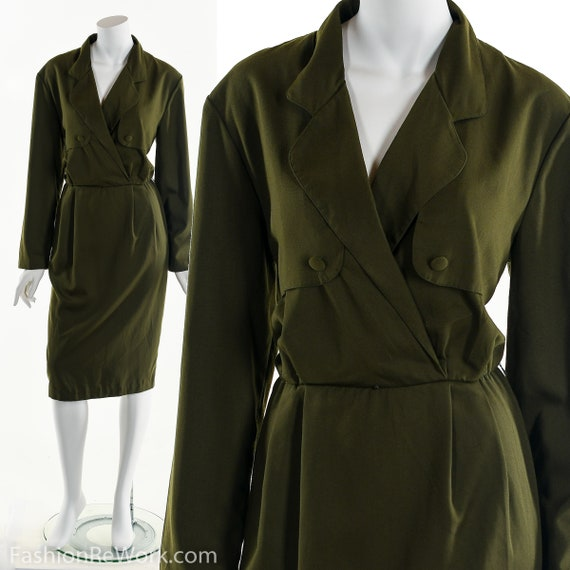 Green Wrap Dress, Olive Green Dress, Army Green Dr