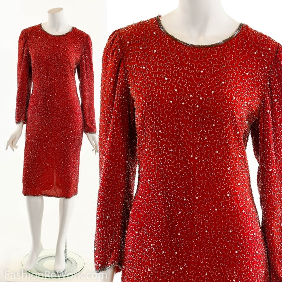 Beaded Silk Red Dress, Vintage Beaded Dress, Troph