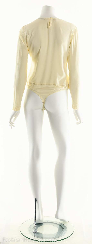 Donna Karan Bodysuit, Cream White Bodysuit, Silk … - image 6