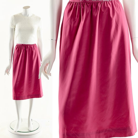 Pink Silk Skirt,Vintage Fuschia Pencil Skirt,Deads