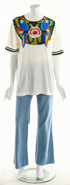 Patchwork T-Shirt, Vintage Patchwork Tee, Tropica… - image 3