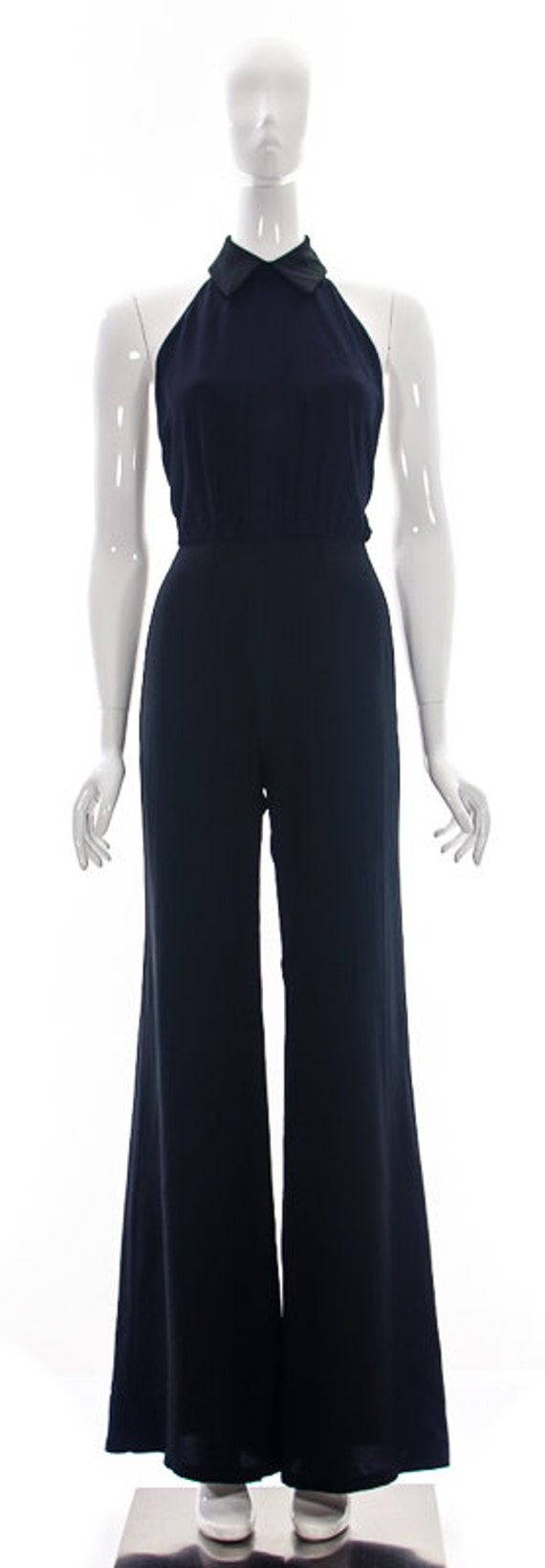 Navy Fashion Fabric Eco Black Halter Small Jumpsuit Recycled LowBack Romper Sustainable Conscious Tuxedo Repurposed rraq7