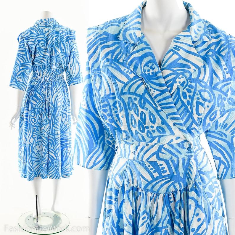 Blue Wrap DressAbstract Print DressArt Print Dress80s does image 0