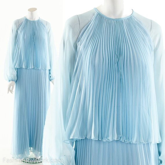 Goddess Chiffon Dress,Accordian Pleated Maxi Dress