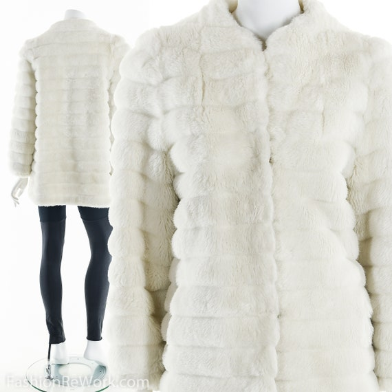 Vegan Fur Jacket, Vegan White Fur Jacket, Vintage