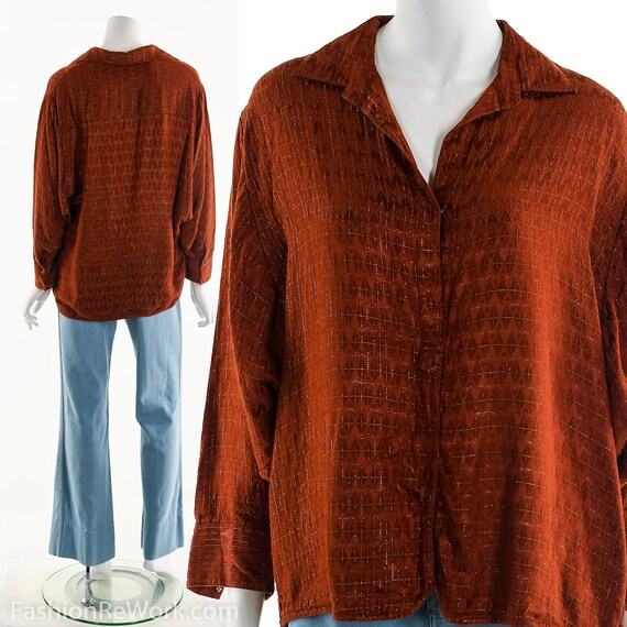 Red Dolman Top, Red Metallic Blouse, Red and Gold